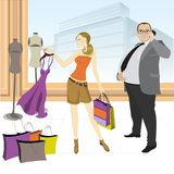 Pretty shopping girl with dress and fat businessman with cell ph. One, vector illustration Royalty Free Stock Photos
