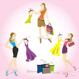 Pretty shopping girls. Set Pretty shopping girls, vector illustration Royalty Free Stock Image