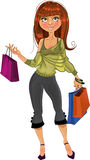 Pretty shopping glamur girl royalty free stock images