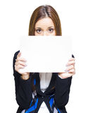 Pretty Shy Business Woman Displaying Blank Board Stock Image