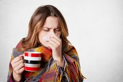 Pretty sick woman has runnning nose, rubs nose with handkerchief, drinks hot beverage, wrapped in warm blanket, has high temperatu. Re and cold,  over white Royalty Free Stock Images