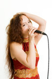 Pretty singer. Royalty Free Stock Photos