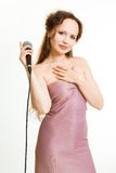Pretty singer. Royalty Free Stock Photo