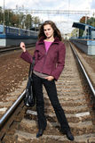 Pretty single young woman travels Royalty Free Stock Photo