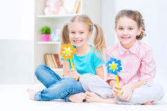 Pretty sisters having fun at home Stock Photography