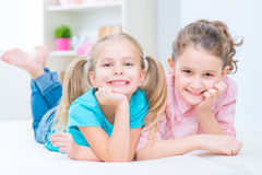Pretty sisters having fun at home Royalty Free Stock Images