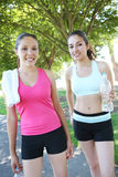 Pretty Sisters After Jogging Stock Photo