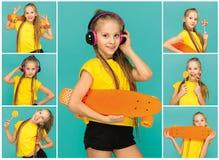 Pretty skater girl holding skateboard Stock Images