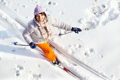 Pretty skier Stock Images