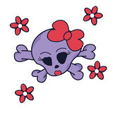 Pretty Skull witch Crossbones and Flowers isolated on white Stock Images
