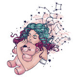 Pretty sleeping gilr with pink teddy bear and long curly colorful hair, Royalty Free Stock Photography