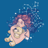 Pretty sleeping gilr with pink teddy bear and long curly colorful hair Royalty Free Stock Photography