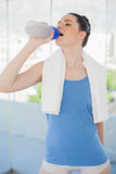 Pretty slender woman hydrating. After exercising in bright sports hall Royalty Free Stock Images