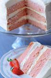 Pretty slice of Cake. Pretty slice of pink strawberry cake stock photography