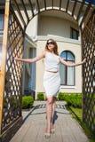 Pretty slim blond woman royalty free stock image