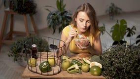 Slim Girl Enjoys Salad stock footage