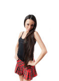 Pretty Slim Schoolgirl With Long Hair Isolated Royalty Free Stock Images