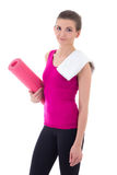 Pretty slim woman with yoga mat isolated on white Royalty Free Stock Image