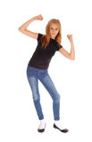 Pretty slim young girl dancing. Stock Images