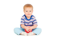 Pretty small boy with red ball Stock Photo