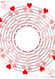 Pretty small hearts rotating in concentric circles Stock Images