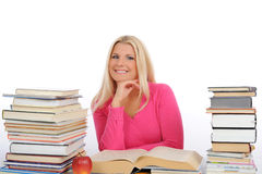 Pretty Smart Woman With Lots Of Books Study Stock Photography