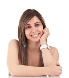 Pretty Smile. Pretty young brunette, with toothy smile. Studio shot on white background stock photos