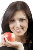 Pretty smile  woman with apple Stock Photo