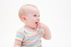 Pretty smiley baby in striped t-shirt Royalty Free Stock Image