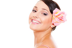 Pretty smiley model with rose Royalty Free Stock Photography
