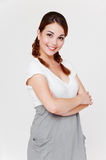 Pretty smiley woman in dress Royalty Free Stock Image