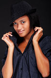 Pretty smiley woman in hat Stock Image