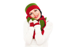 Pretty smiley woman in hat and scarf Royalty Free Stock Images