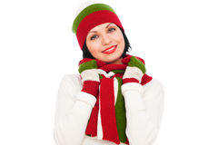 Pretty smiley woman in hat and scarf stock photo