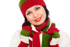 Pretty smiley woman in hat and scarf Stock Photos