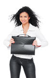 Pretty smiley woman holding black briefcase Stock Photos