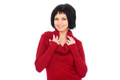 Pretty smiley woman in red sweater Stock Photography
