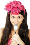 Pretty smilimg girl holding a sppon Royalty Free Stock Photography