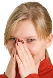 Pretty smiling blond girl royalty free stock images