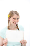 Pretty smiling blonde with blank paper Stock Image