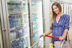 A pretty smiling blonde woman buying frozen products Stock Photography