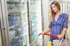 A pretty smiling blonde woman buying frozen products Stock Image
