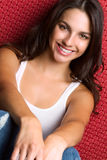 Pretty Smiling Brunette Woman Stock Photo