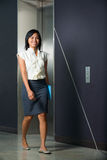 Pretty Smiling Businesswoman Walking Office Stock Image