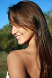 Pretty smiling dark-haired girl Stock Photo
