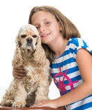 Pretty smiling girl with american spaniel Royalty Free Stock Image
