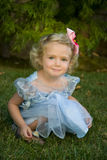 Pretty Smiling Girl in Blue Dress Royalty Free Stock Photo