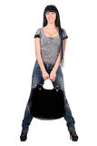 Pretty smiling girl with a handbag Stock Photography