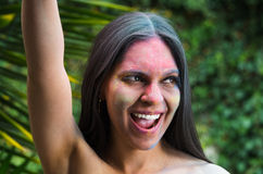 Pretty smiling girl having fun with painted face Royalty Free Stock Photos