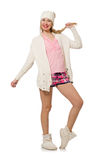 The pretty smiling girl in pink jacket isolated on white Stock Photos